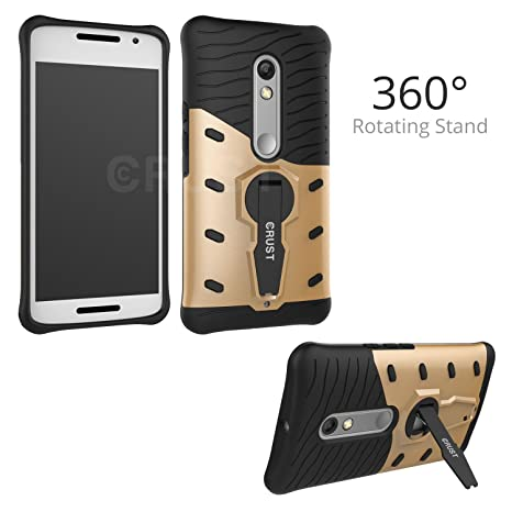 reputable site 09b99 38e24 Crust 360° Rotating Stand Back Case Cover For Motorola Moto X Play, Shock  Proof Slim Armor - Gold