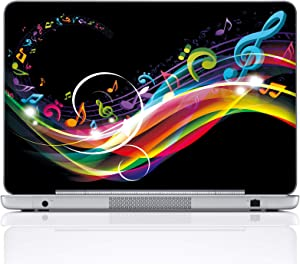 Meffort Inc 17 17.3 Inch Laptop Notebook Skin Sticker Cover Art Decal (Included 2 Wrist pad) - Rainbow Music Note Design