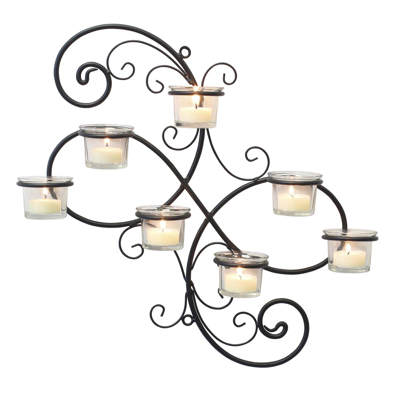 Stonebriar Transitional Scrolled Ivy Tea Light Candle Holder Hanging Wall Sconce, Modern Home Decor for Living Room, Bedroom, Hallway, or Bathroom, Black