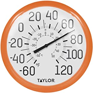 Taylor Precision Products 6700OR Big & Bold Wall Thermometer, 13.25