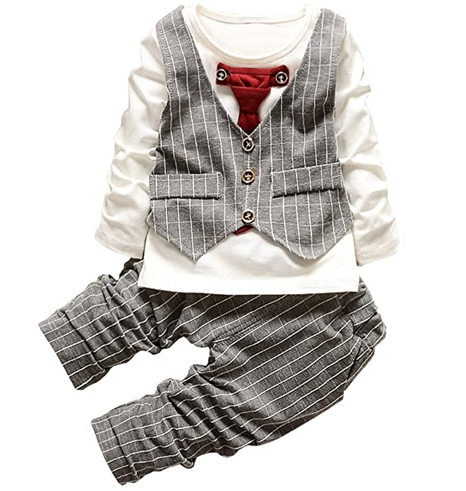 1930s Childrens Fashion: Girls, Boys, Toddler, Baby Costumes JIANLANPTT Baby Boy Formal Party Wedding Tuxedo Waistcoat Outfit Suit $14.99 AT vintagedancer.com