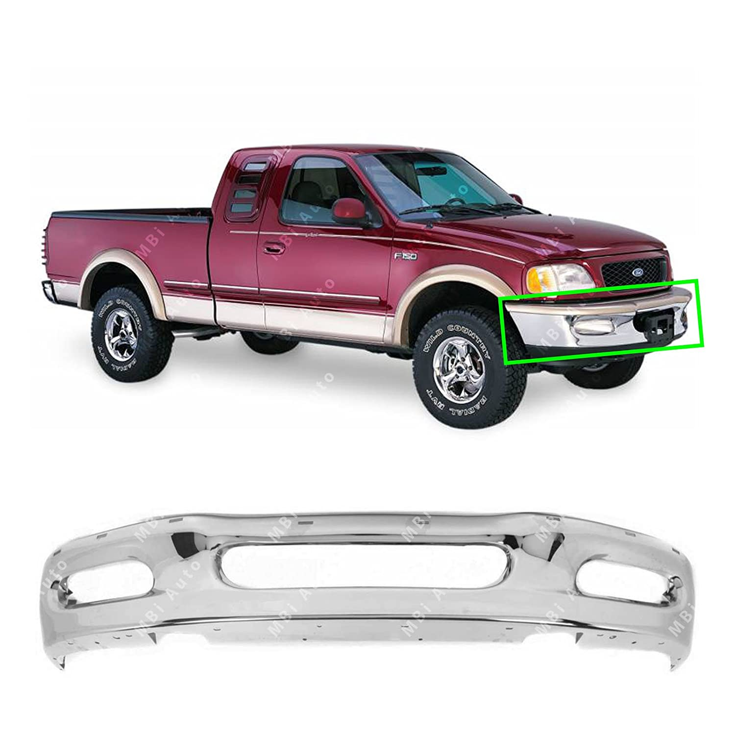 MBI AUTO - Chrome, Steel Front Bumper Face Bar for 1997 1998 Ford F150 & Expedition 97 98, FO1002338