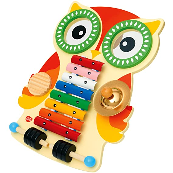 Ratsche Schelle und Trom... Musikinstrument aus Holz mit Xylophon Musiktisch