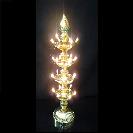 Buy Bubby 4 Layer Plastic Electric Gold Led Bulb Lights Diya