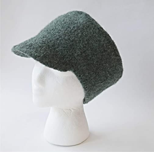 Amazon.com  Handmade Hunter Green Felted Wool Billed Winter Hat  Handmade 01fd187bf57