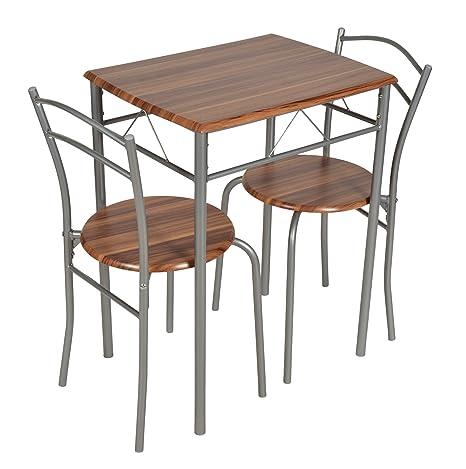 ts-ideen 3er Set Essgruppe Esstisch Küchentisch Tisch Stühle platzsparend  Alugestell in Silber und Nussbaum-Optik 59 x 44 cm für die Küche Esszimmer  ...