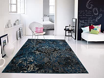 Premium Contemporary Rug For Living Room Dark Blue Distressed Rugs, Large  8x11