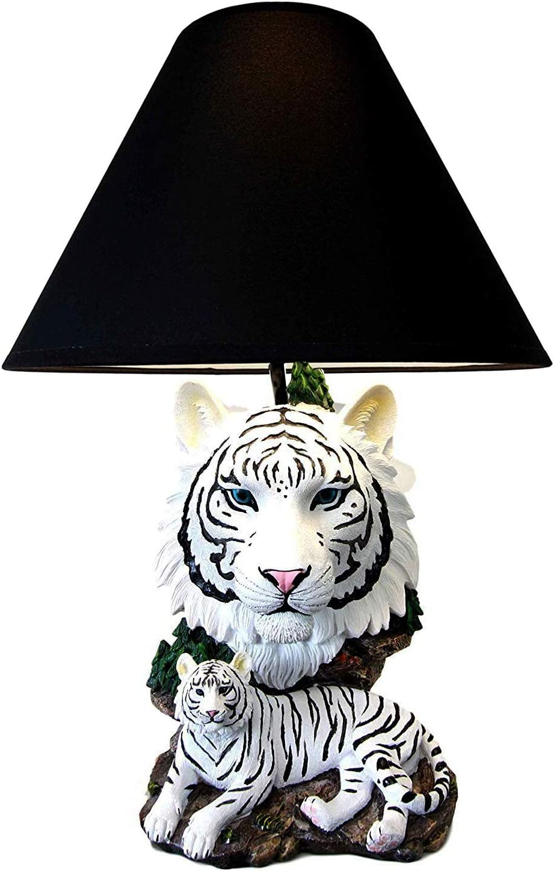Ebros White Rare Alaskan Tiger Desktop Table Lamp Statue With Black Fabric Shade Siberian Albino Tiger Home Decor Lighting Accessory As Jungle Forest Large Cats Tigers Decorative Themed Decor