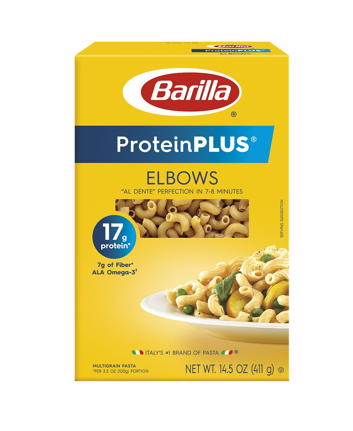 Barilla ProteinPLUS Multigrain Elbows Pasta, High Protein Pasta, 14.5 Ounce (Pack of 8)