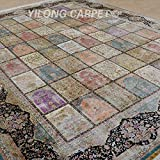 Yilong 9 x12  Oriental Rugs Classic Handmade Garden Scene Hand Knotted Floral Home Carpet (Multi) Q1893