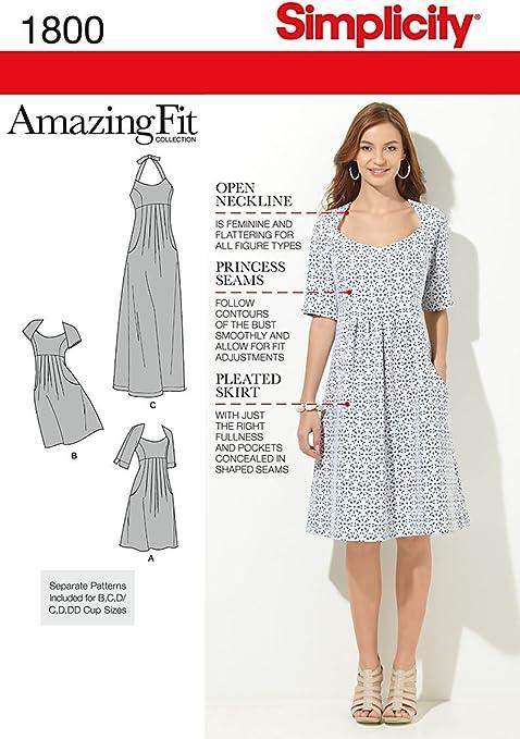 Simplicity 1800bb Patrons Pour Robes Femmes Taille 48 A 56 Amazon Fr Cuisine Maison