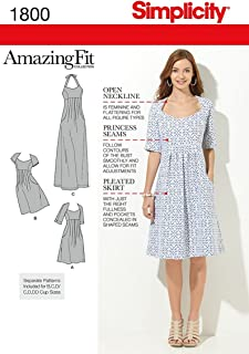 product image for Simplicity 1800 Women's Open Neckline Dress Sewing Patterns, Sizes 20W-28W