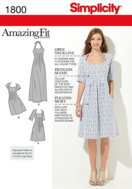 Simplicity Amazing Fit Pattern 1800 Women\'s Dress in 2 Lengths with  Individual Pattern Pieces Sizes 20W-28W