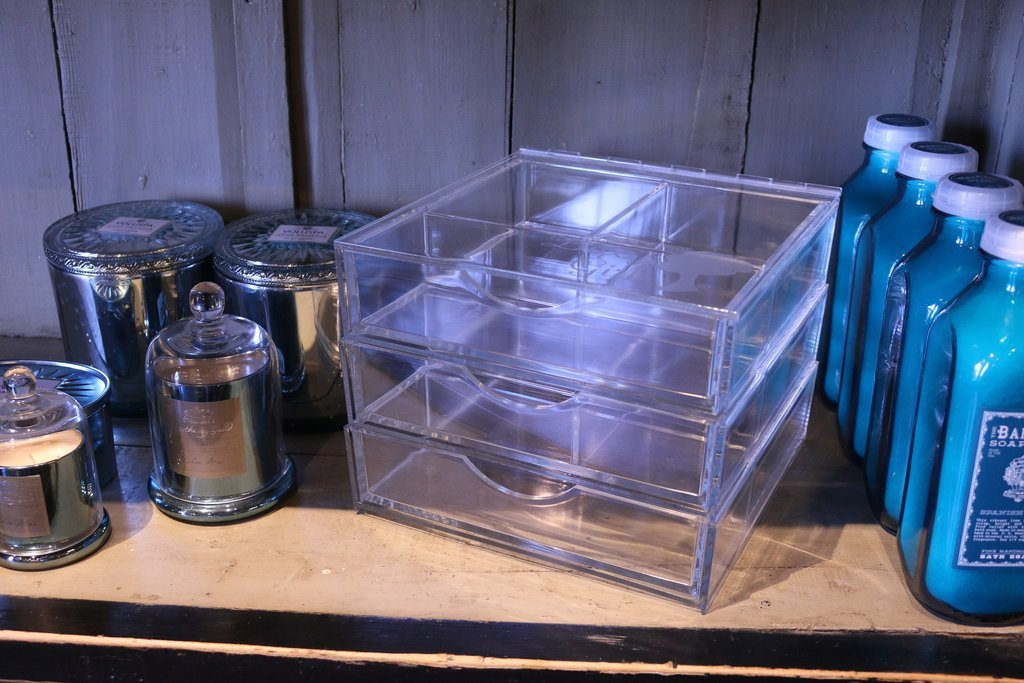 Boxy Girl Acrylic Makeup Storage Triple Stack With Lid 100% Lucite, Cube