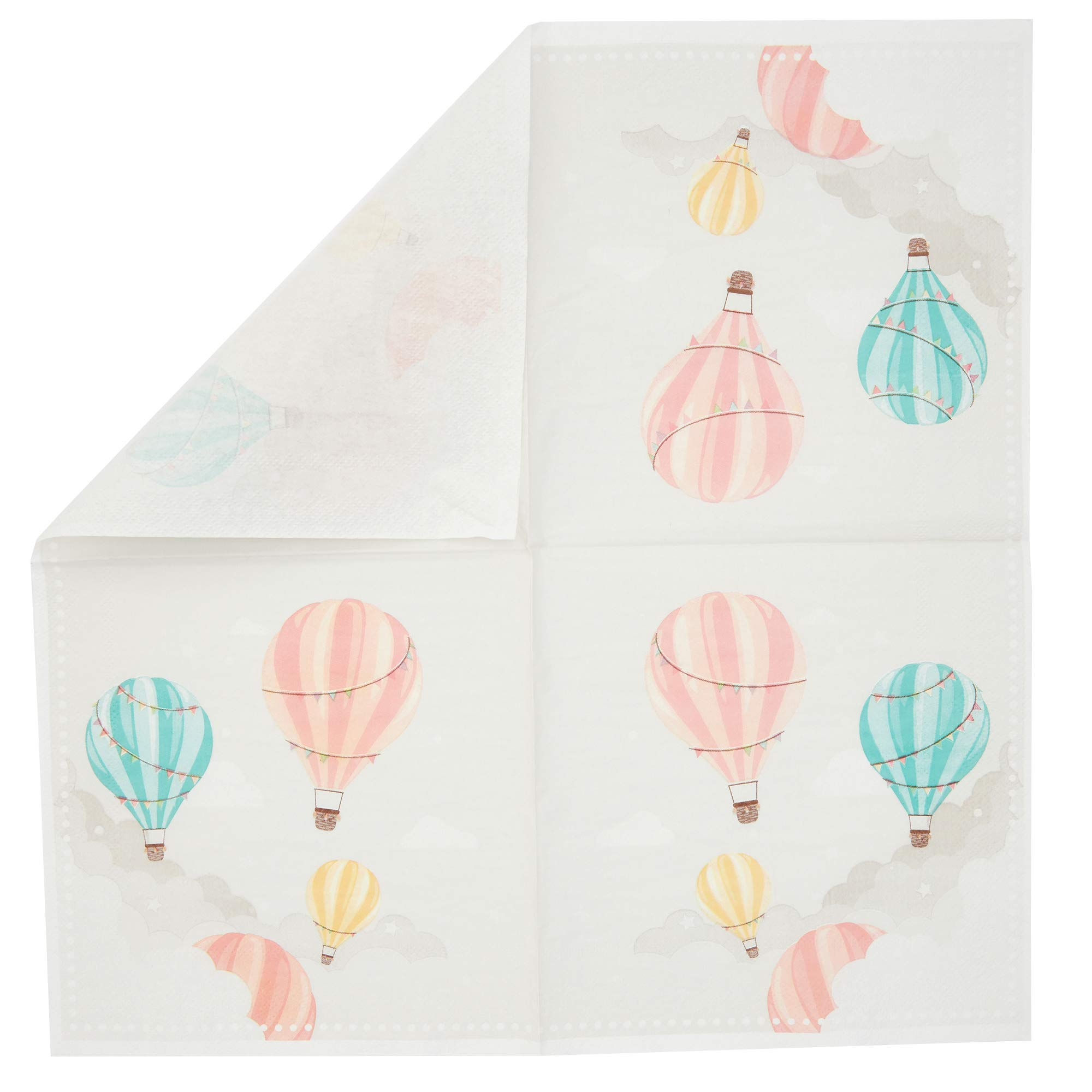 Hot Air Balloon Sparkle and Bash Baby Shower Paper Napkins 100 Pack 6.5 in