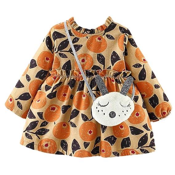 ❤ Amlaiworld Vestido de Princesa de Encaje con Estampado de Hojas de Frutas y Mangas largas para niñas Bebé Recién Nacidos + Bolsa Conjuntos: Amazon.es: ...