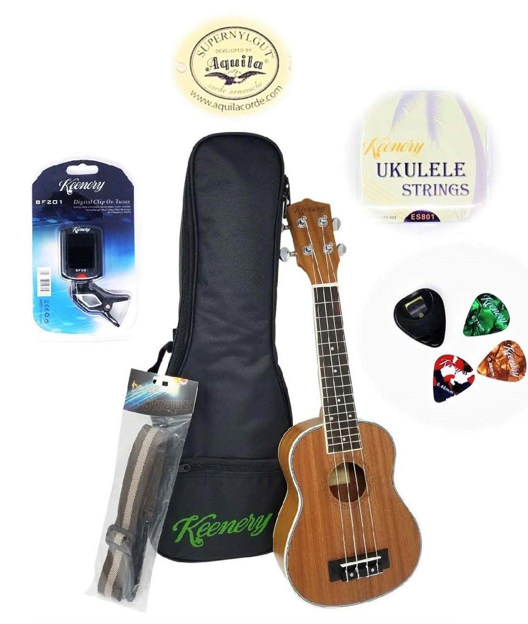 Keenery 21'' Handcrafted Professional Mahogany Soprano Ukulele Now with Aquila Strings Starter Kit With Gig Bag, Strap, Extra Strings, Picks, Tuner