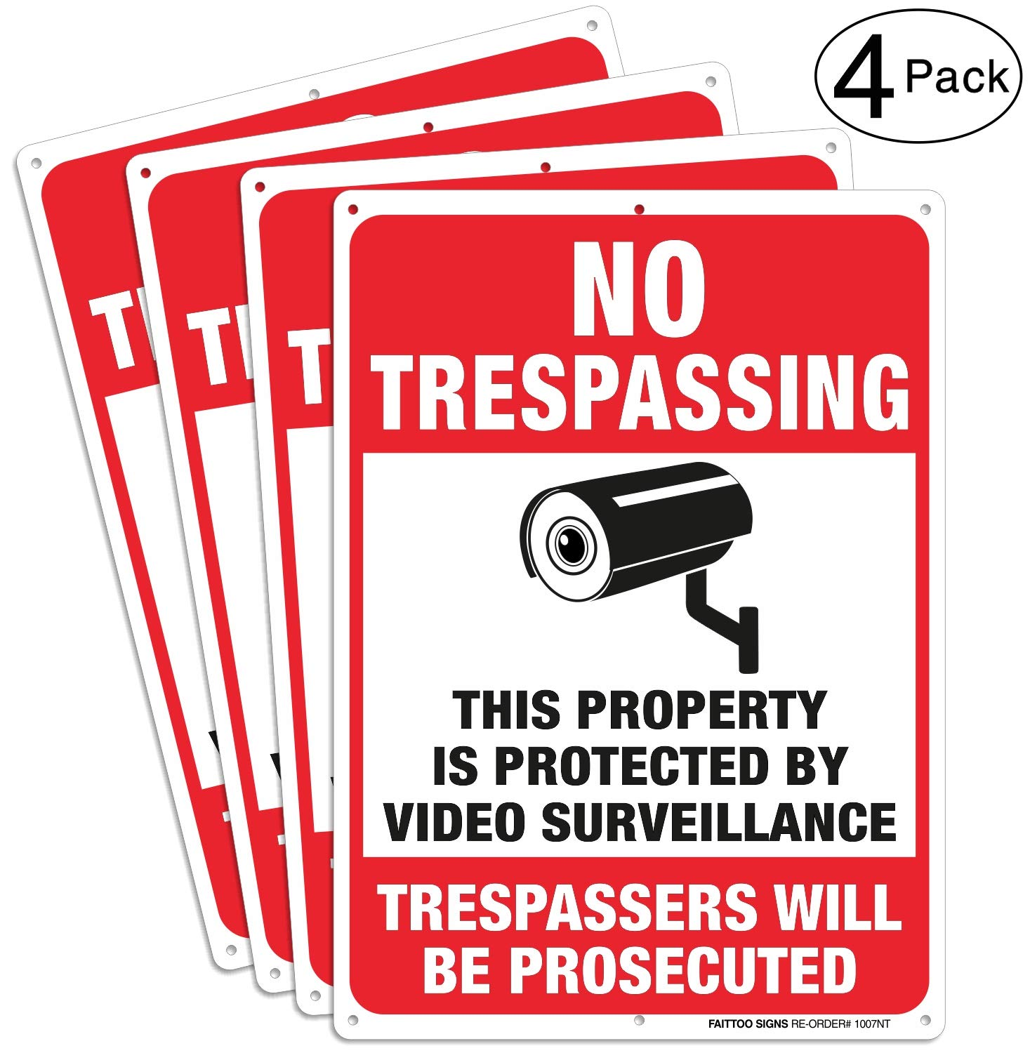 (4 Pack) Video Surveillance Signs, No Trespassing Violators Will Be Prosecuted Metal Reflective Warning Sign, 10 x 7 Inches0.40 Aluminum Indoor Or Outdoor Use for Home Business CCTV Security Camera 71P9cfZqKNL