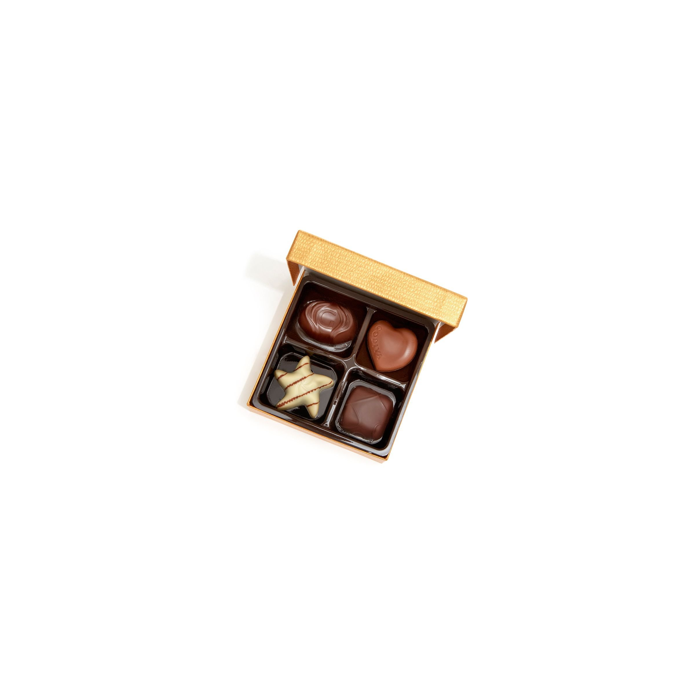 Godiva Chocolatier Chocolate Gold Favor 4 Piece Gift Box, Gold Ribbon, Great as a Gift, Chocolate Birthday Favors, Chocolate Wedding Favors, Chocolate Gift Box, Set of 12 by GODIVA Chocolatier (Image #3)