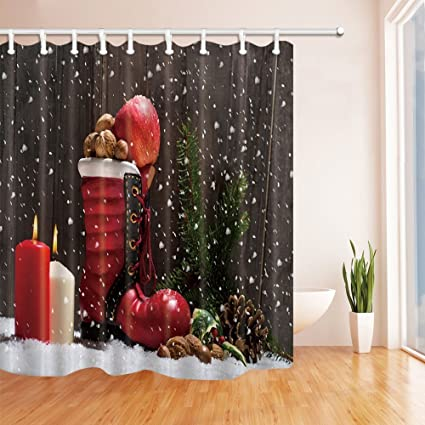 CdHBH Christmas Shower Curtains For Bathroom Candles And Boot Full Of Gifts Snowflakes Backdrop Polyester Fabric