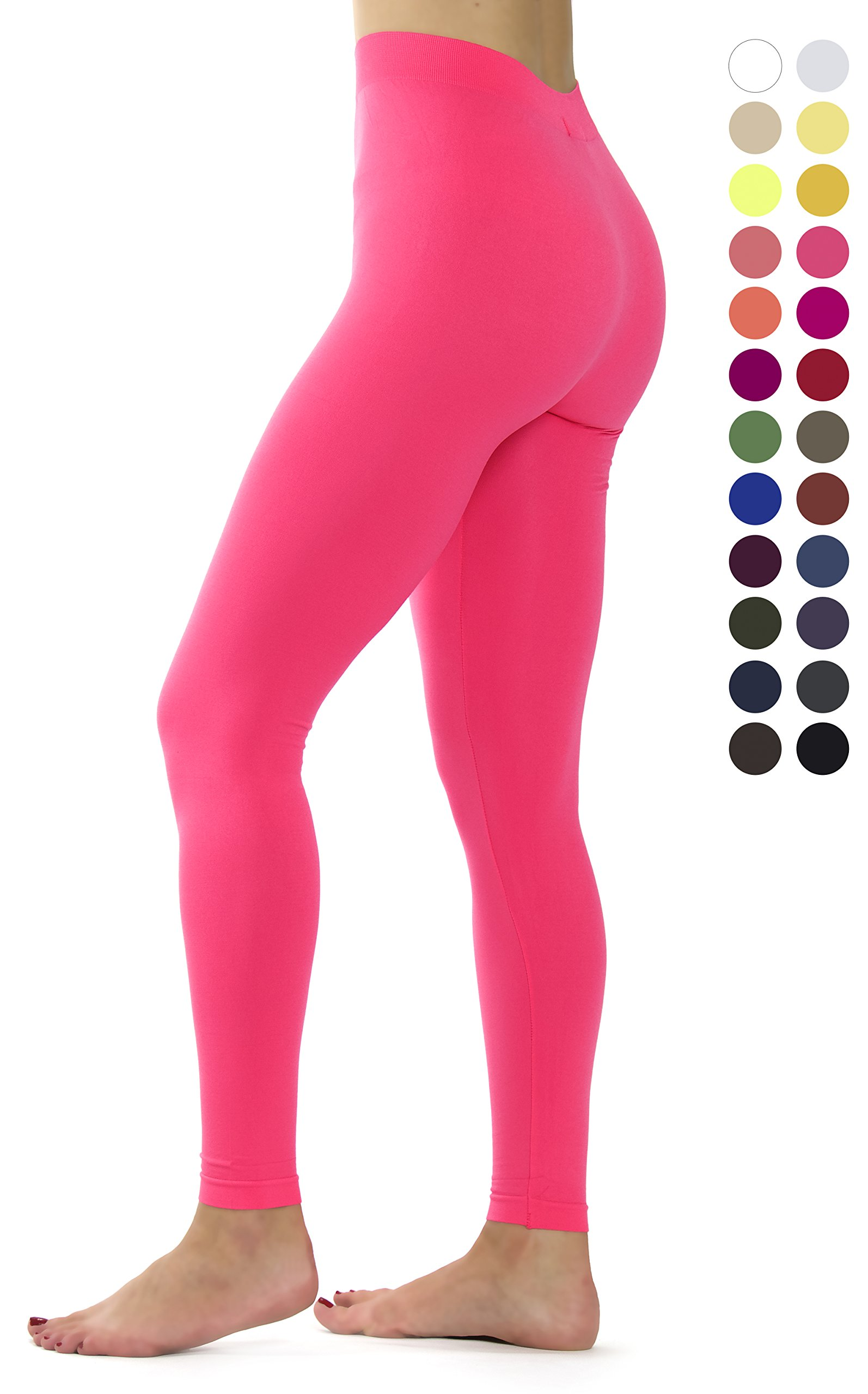 Ylluo Leggings High Waist Pants Buttery Soft Fleece and Non Fleece Tights Regular and Plus Size (S/M/L (US Size 2-10), Neon Fuchsia)