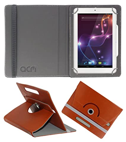 Acm Rotating 360 Leather Flip Case Compatible with Lava Ivory Xtron Z704 Tablet Cover Stand Brown Bags,Cases   Sleeves
