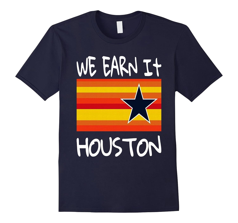 Houston Baseball T-Shirt Throwback Astro Stripe WE EARN IT-T-Shirt