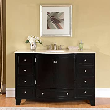 Silkroad Exclusive Cream Marble Top Single White Sink Bathroom Vanity With  Espresso Cabinet, 55