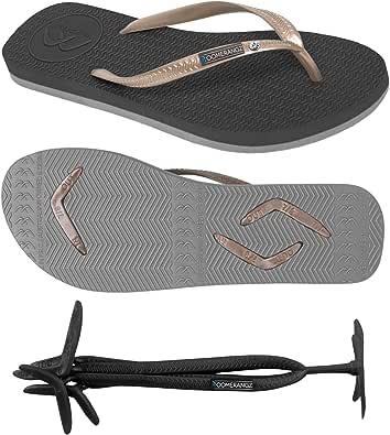 Boomerangz Women's Slim Fit Flip Flops - Black with Gold Straps - Ladies Flip Flops - Womens Rubber Flip Flops - Light Flip Flops - Comfort Flip Flops for Women - Beach Flip Flops