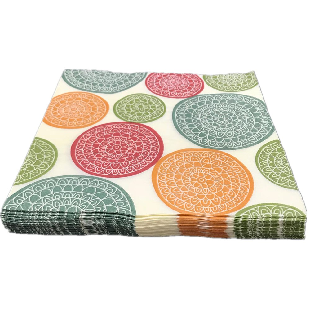 SEPP Cocktail Paper Napkins,Cream With Colors Flowers Pattern,2-Ply,Disposable Paper Beverage Napkins For Bars,Anniversary party,Dinner,Lunch,Folded 6.5x6.5 Inches,Pack Of 100