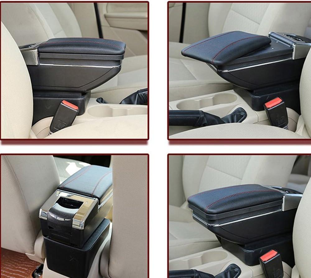 Black SZSS-CAR Car Center Console Leather Armrest Storage Box With USB