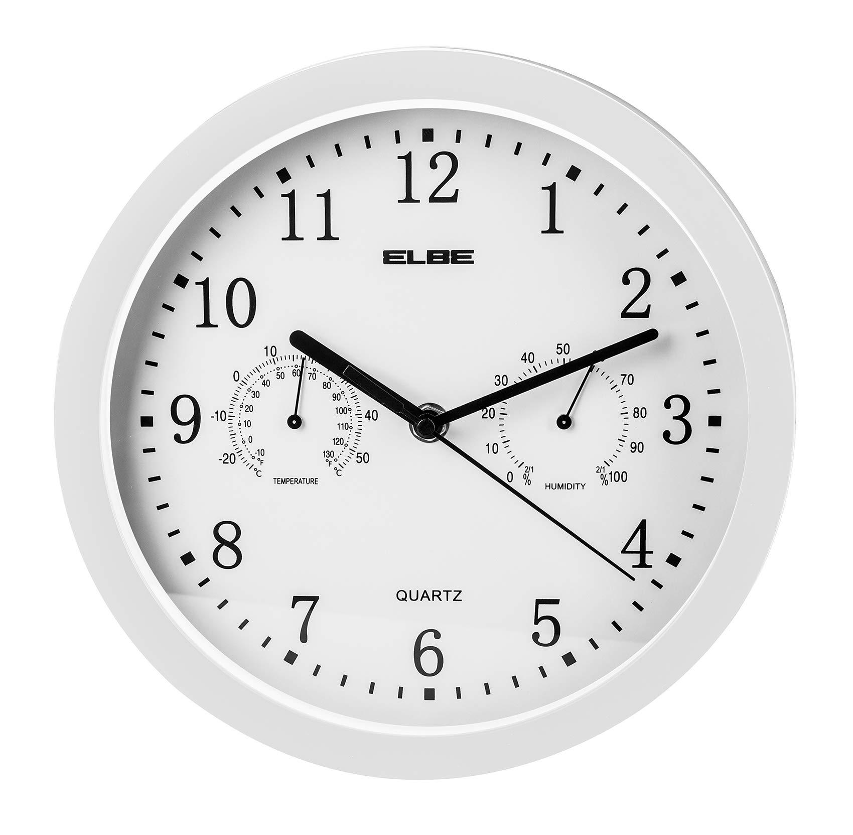 Elbe RP-2005-B - Reloj de pared con termómetro y higrómetro, color