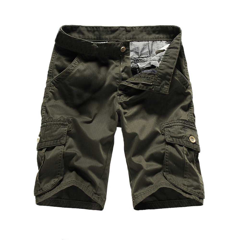 Ratoop Men's Casual Pure Color Outdoors Pocket Beach Work Trouser Cargo Shorts Pant (Army Green B, 34) by Ratoop-Pants