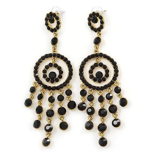 Grande, per abiti da sera, colore Nero cristallo austriaco Orecchini  placcati In oro, lunghezza 10 cm Amazon.it Gioielli