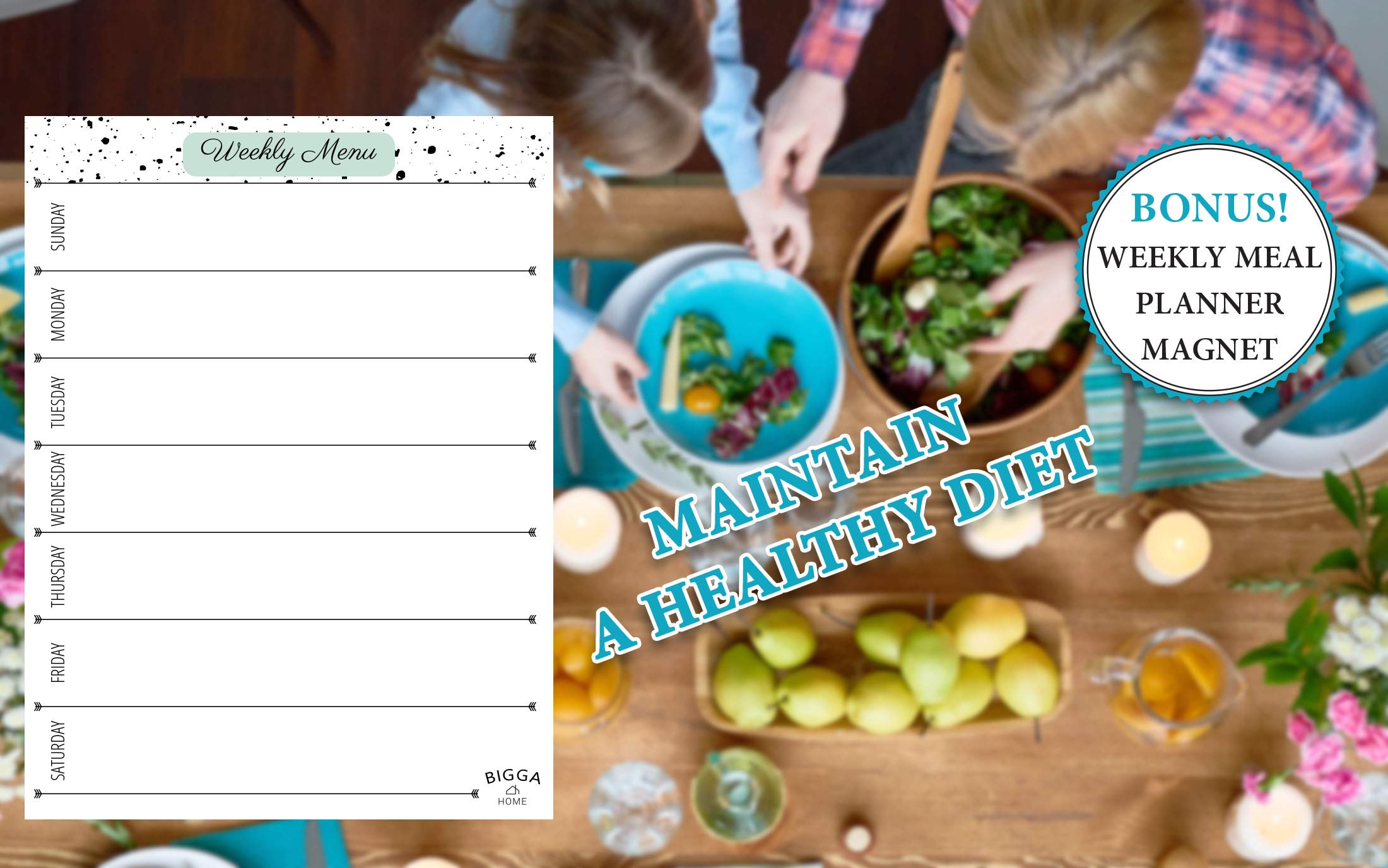Dry Erase Monthly Magnetic Calendar Planner Set, White Board W/Extra Meal Planner, for Kitchen Refrigerator, Flexible, a Highly Designed Stiff Box for Home or Office. White, 16''x12''. by BIGGAHOME by Bigga Home (Image #5)