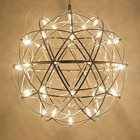 Tropicalfan modern spherical globe stainless steel pendant spark chandelier little shining star creative ceiling light with