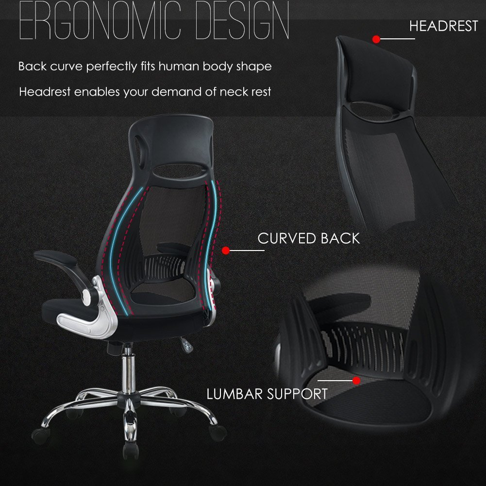 Simply owning an ergonomic chair is not enough if you don t know how - Intimate Wm Heart Black Ergonomic Mesh High Back Padded Office Chair With Foldable Armrest Head Support Height Adjustable Swivel Task Desk Chair