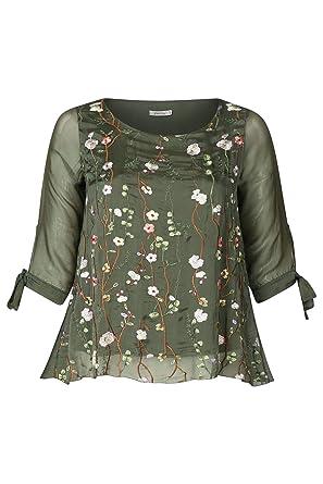 Super günstig Wählen Sie für authentisch verschiedene Stile PAPRIKA Damen große Größen Seidenbluse mit Blumenstickerei ...