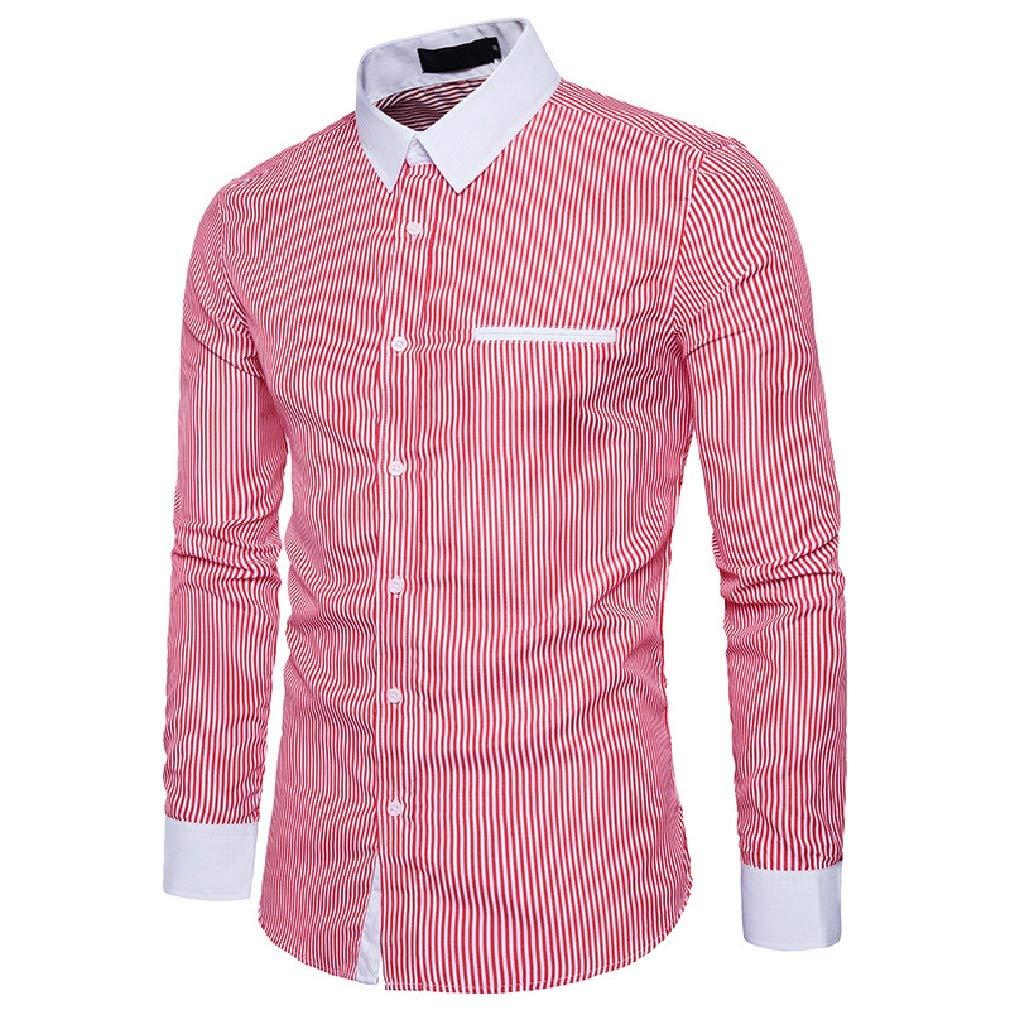 Tralounry Men Turn Down Collar Long-Sleeve Stripes Printed Classic Hit Color Dress Shirts