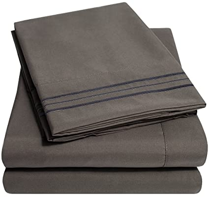 1500 Supreme Collection Extra Soft Full Sheets Set, Gray   Luxury Bed Sheets  Set With