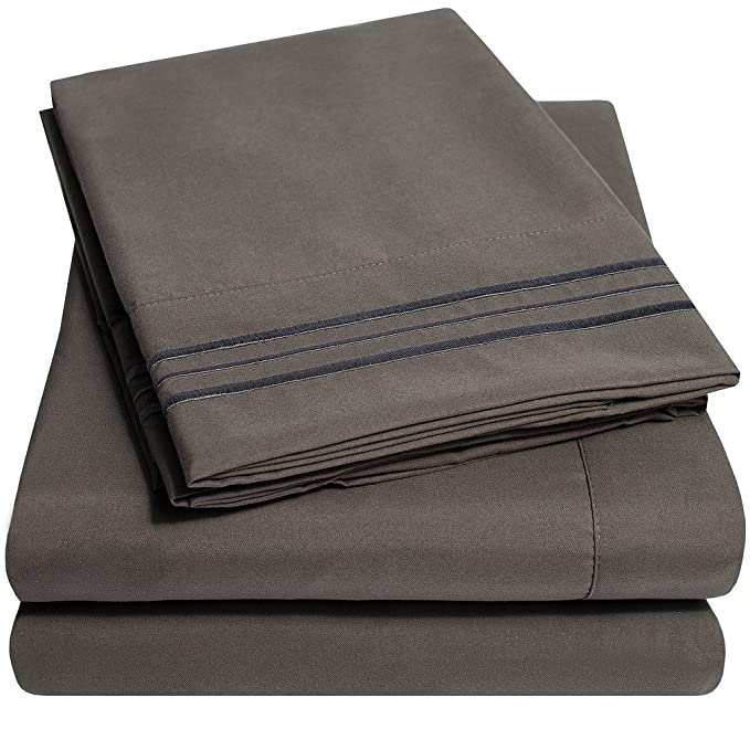 Review 1500 Supreme Collection Extra Soft California King Sheets Set, Gray - Luxury Bed Sheets Set With Deep Pocket Wrinkle Free Hypoallergenic Bedding, Over 40 Colors, California King Size, Gray