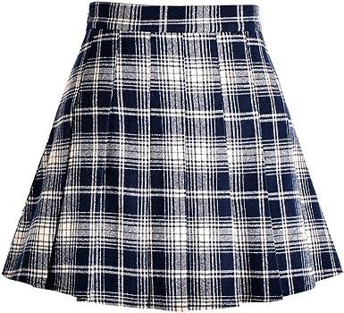 ZhuiKunA Mujer Minifalda Plisada Escocesa Elegante de la Colegiala ...