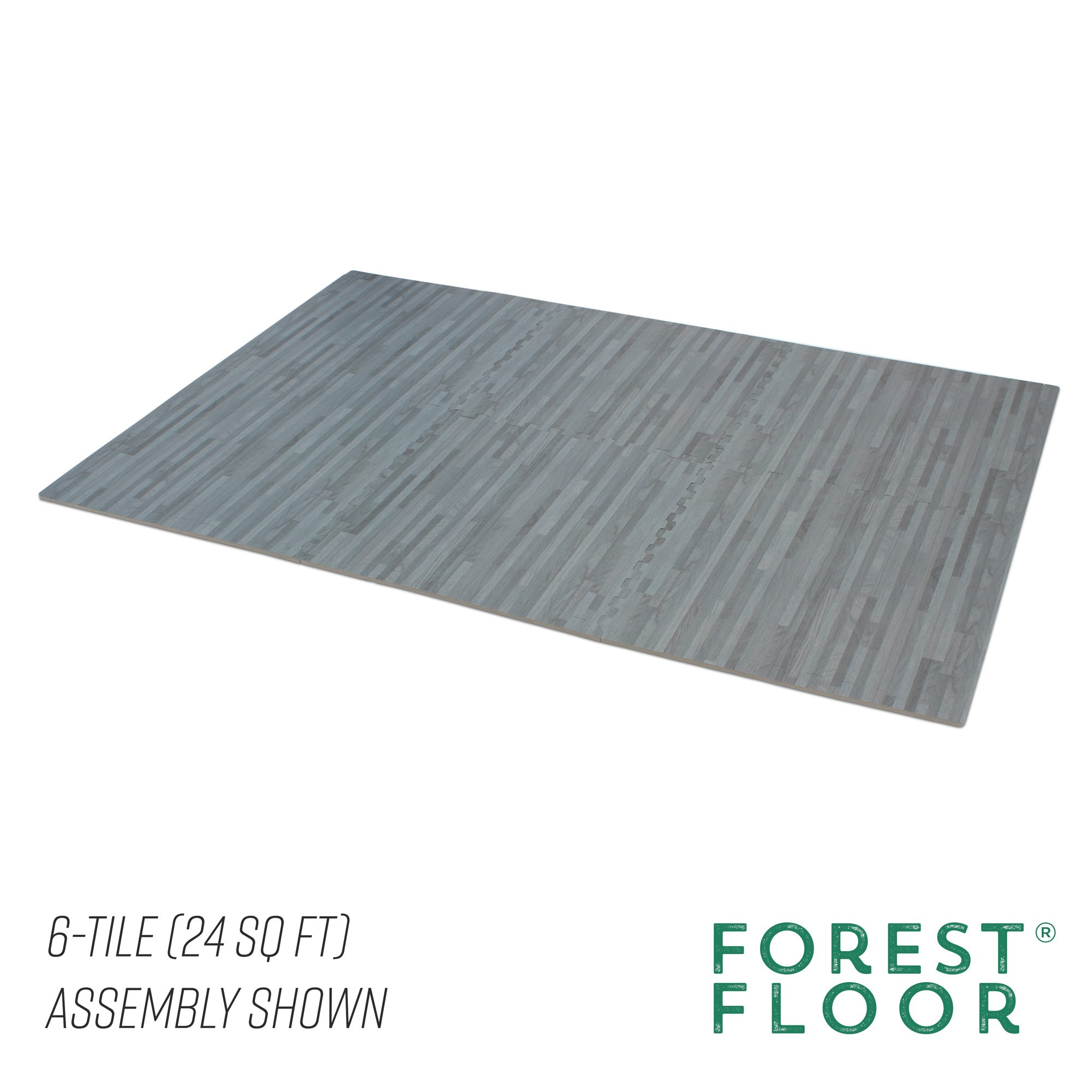 Forest Floor 3/8'' Thick Printed Wood Grain Interlocking Foam Floor Mats, 16 Sq Ft (4 Tiles), Slate by Forest Floor (Image #5)