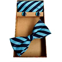 Blacksmith Stripes Blue Tie, Bowtie, Cufflink, Pocket Square Set for Men