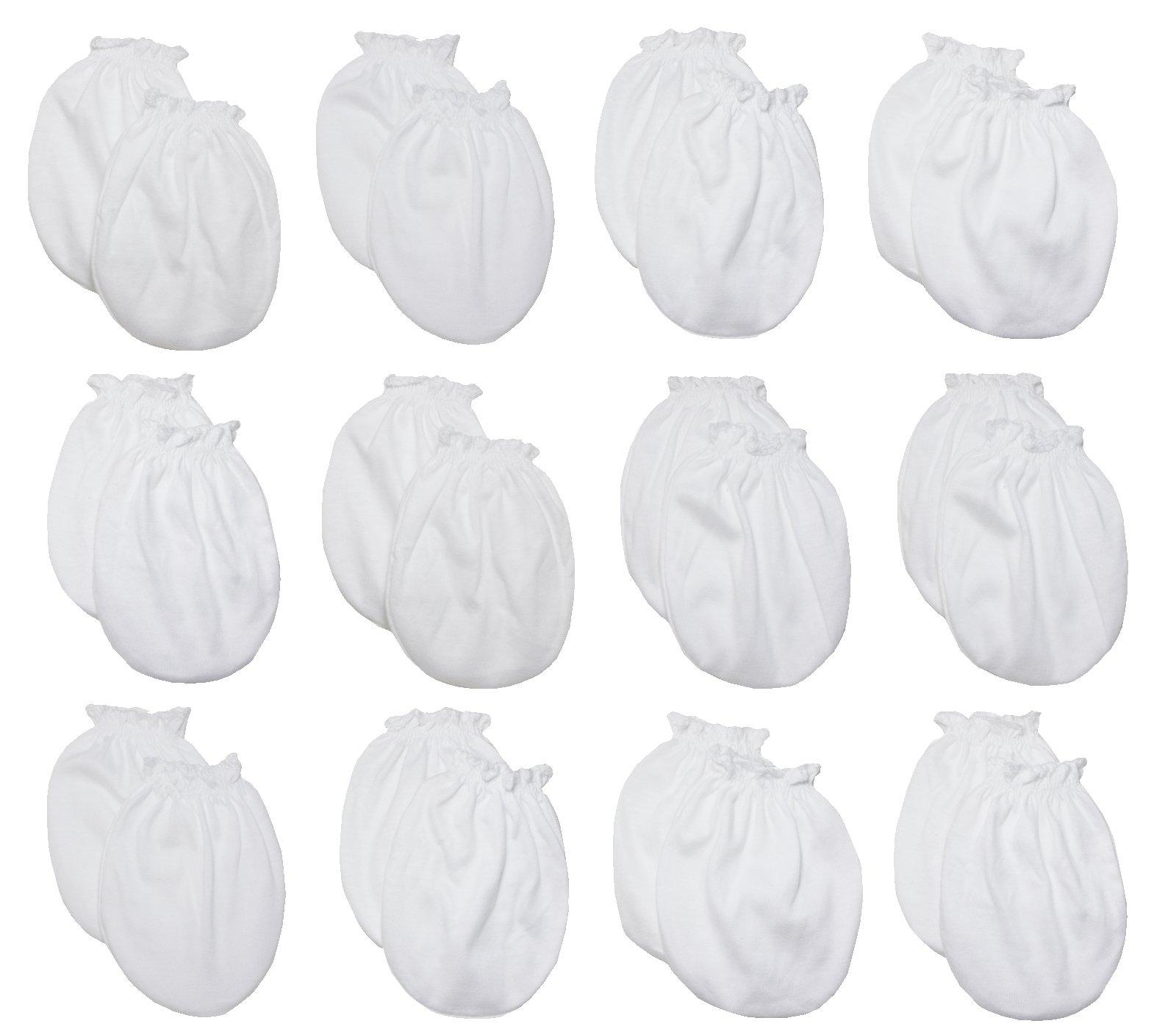 LUCKY LUCKY Baby Boys Girls Gloves,No Scratch Mittens 100%Cotton 12Pair