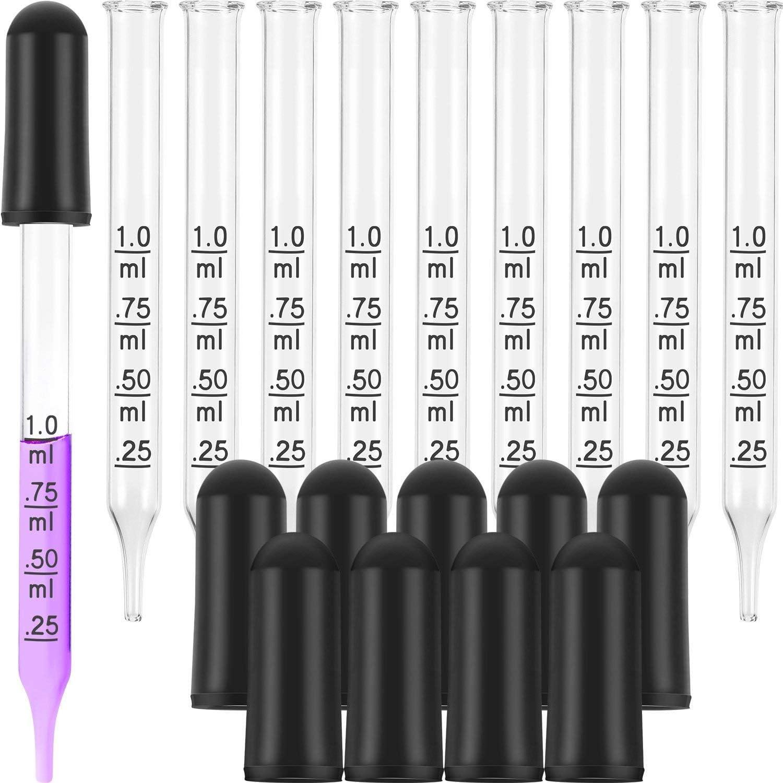Pipeta Cuentagotas Graduada de Vidrio 1ml Pipetas Cuentagotas Gotero de Aceite Esencial Vidrio Calibrado con Cabezales de Goma 20PCS Pipetas Cuentagotas de Fluido para Laboratorio Medicina L/íquida