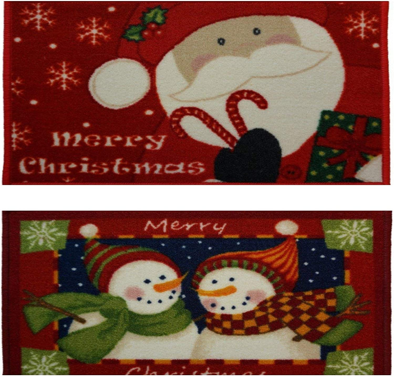 NEW NOVALTY FESTIVE MATS RED MERRY CHRISTMAS DOORMAT NON SLIP GEL BACK 40CMX60CM