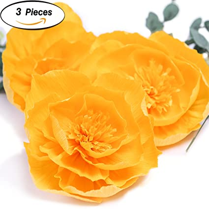 Amazon.com: Large Paper Flower Decorations 8\'\' of Golden Yellow ...