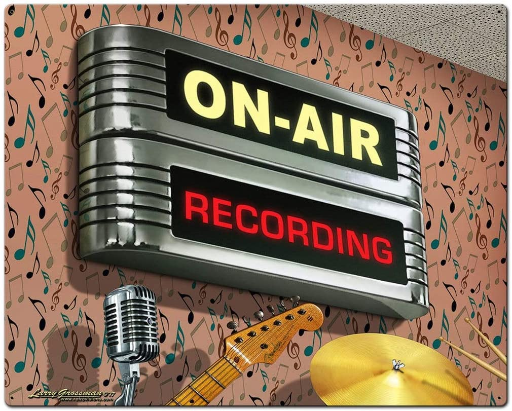 Losea On Air Recording Retro Vintage Tin Signs, Wall Metal Posters Plaques, Home Bar Garage Man Cave Decor,12 x 8 Inches