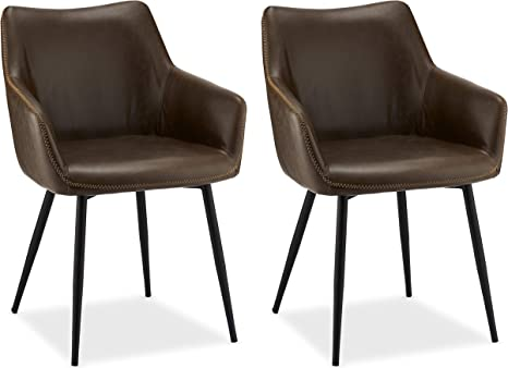 Ibbe Design Set Of 2 Brown Faux Leather Dining Chairs Vintage Industrial Lounge Kitchen Chairs With Armrests Anette Black Metal Frame L 56 X W 56 X H 81 Cm Amazon De Kuche Haushalt